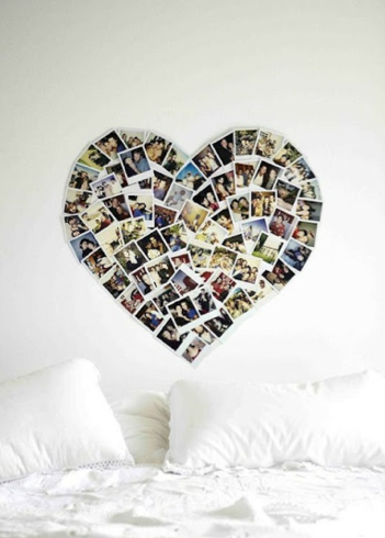 photo wall heart shaped