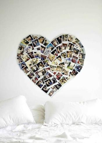 photo wall heart shaped